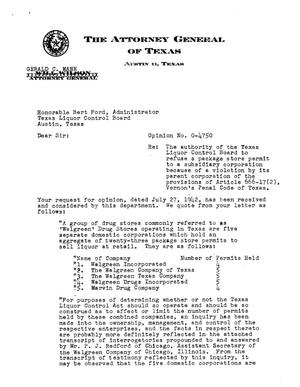 Primary view of object titled 'Texas Attorney General Opinion: O-4750'.