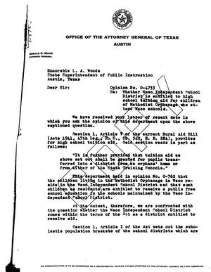 Primary view of object titled 'Texas Attorney General Opinion: O-4753'.
