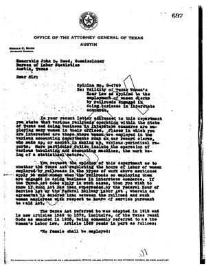 Primary view of object titled 'Texas Attorney General Opinion: O-4760'.