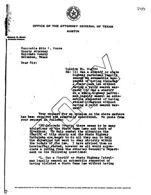 Primary view of object titled 'Texas Attorney General Opinion: O-4762'.