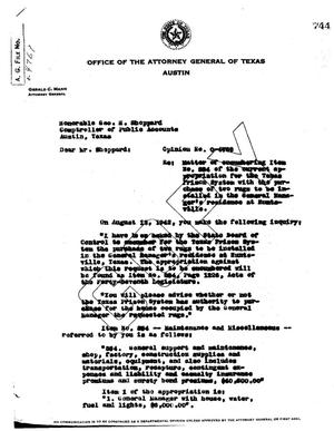 Primary view of object titled 'Texas Attorney General Opinion: O-4769'.