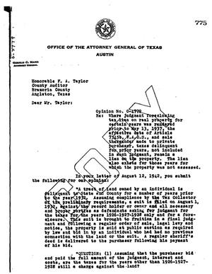 Primary view of object titled 'Texas Attorney General Opinion: O-4779'.
