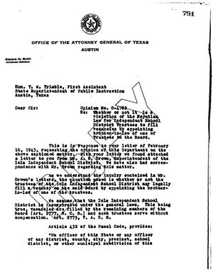Primary view of object titled 'Texas Attorney General Opinion: O-4782'.