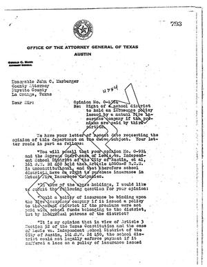Primary view of object titled 'Texas Attorney General Opinion: O-4784'.