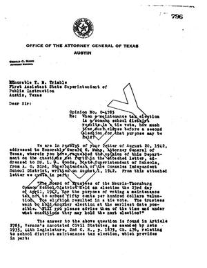Primary view of object titled 'Texas Attorney General Opinion: O-4785'.