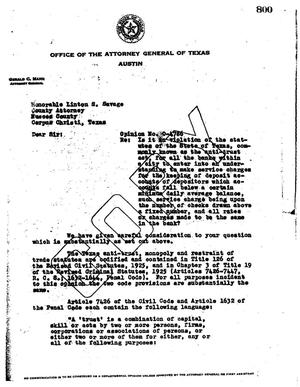 Primary view of object titled 'Texas Attorney General Opinion: O-4786'.