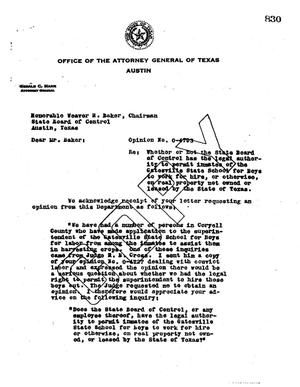 Primary view of object titled 'Texas Attorney General Opinion: O-4793'.