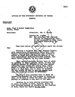 Primary view of object titled 'Texas Attorney General Opinion: O-4795'.