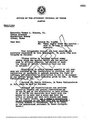 Primary view of object titled 'Texas Attorney General Opinion: O-4799'.