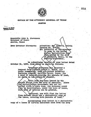 Primary view of object titled 'Texas Attorney General Opinion: O-4800'.