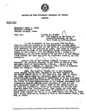 Primary view of object titled 'Texas Attorney General Opinion: O-4807'.