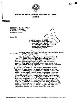Primary view of object titled 'Texas Attorney General Opinion: O-4811'.