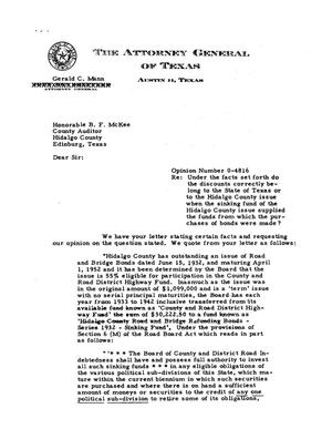 Primary view of object titled 'Texas Attorney General Opinion: O-4816'.