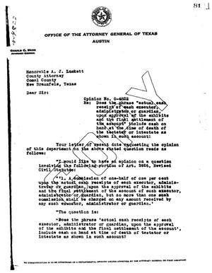 Primary view of object titled 'Texas Attorney General Opinion: O-4822'.