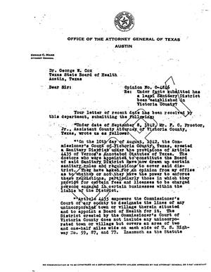 Primary view of object titled 'Texas Attorney General Opinion: O-4846'.