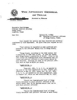 Primary view of object titled 'Texas Attorney General Opinion: O-4852'.