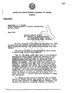 Primary view of object titled 'Texas Attorney General Opinion: O-4855'.