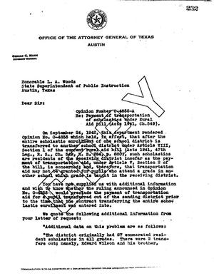 Primary view of object titled 'Texas Attorney General Opinion: O-4856A'.