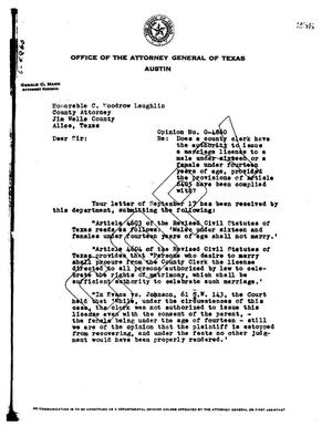 Primary view of object titled 'Texas Attorney General Opinion: O-4860'.