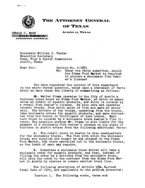 Primary view of object titled 'Texas Attorney General Opinion: O-4861'.