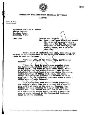 Primary view of object titled 'Texas Attorney General Opinion: O-4866'.