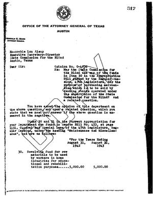 Primary view of object titled 'Texas Attorney General Opinion: O-4875'.