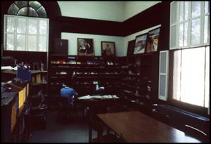 Primary view of object titled '[Interior of the Carnegie Library - Palestine]'.