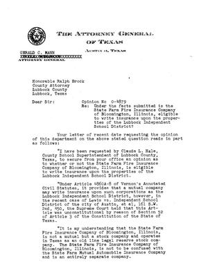 Primary view of object titled 'Texas Attorney General Opinion: O-4879'.