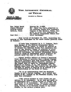 Primary view of object titled 'Texas Attorney General Opinion: O-4880'.
