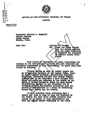 Primary view of object titled 'Texas Attorney General Opinion: O-4884'.