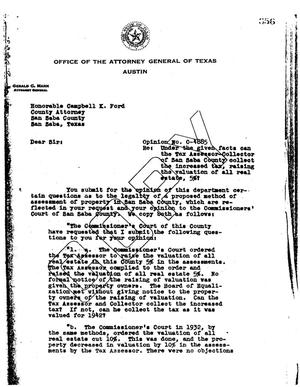 Primary view of object titled 'Texas Attorney General Opinion: O-4885'.