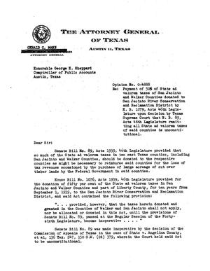 Primary view of object titled 'Texas Attorney General Opinion: O-4888'.