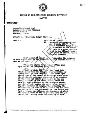 Primary view of object titled 'Texas Attorney General Opinion: O-4892'.