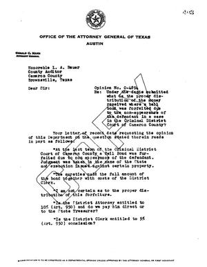 Primary view of object titled 'Texas Attorney General Opinion: O-4894'.
