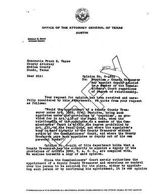 Primary view of object titled 'Texas Attorney General Opinion: O-4895'.