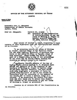 Primary view of object titled 'Texas Attorney General Opinion: O-4896'.