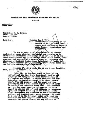 Primary view of object titled 'Texas Attorney General Opinion: O-4904'.