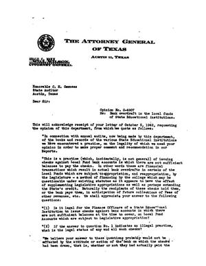 Primary view of object titled 'Texas Attorney General Opinion: O-4907'.