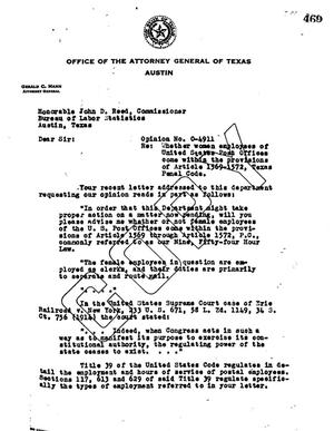 Primary view of object titled 'Texas Attorney General Opinion: O-4911'.
