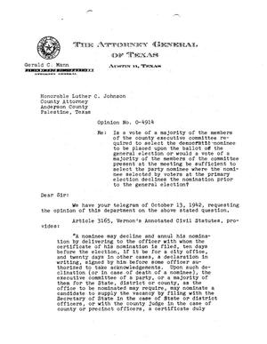 Primary view of object titled 'Texas Attorney General Opinion: O-4914'.