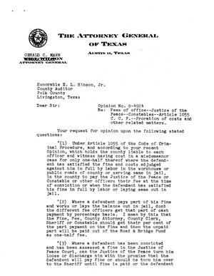 Primary view of object titled 'Texas Attorney General Opinion: O-4924'.