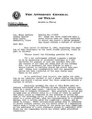 Primary view of object titled 'Texas Attorney General Opinion: O-4929'.