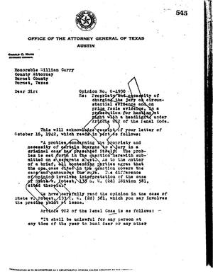 Primary view of object titled 'Texas Attorney General Opinion: O-4930'.