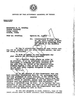 Primary view of object titled 'Texas Attorney General Opinion: O-4951'.