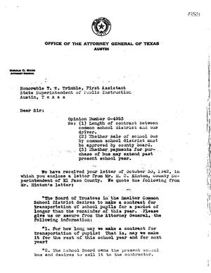 Primary view of object titled 'Texas Attorney General Opinion: O-4953'.