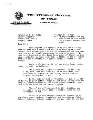 Primary view of object titled 'Texas Attorney General Opinion: O-4957'.