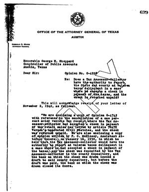 Primary view of object titled 'Texas Attorney General Opinion: O-4958'.