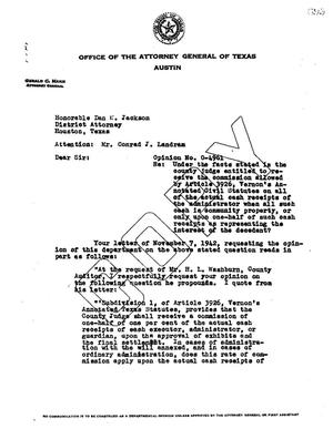 Primary view of object titled 'Texas Attorney General Opinion: O-4961'.