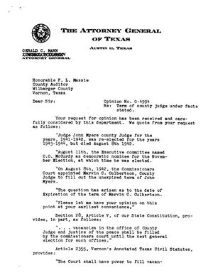 Primary view of object titled 'Texas Attorney General Opinion: O-4994'.