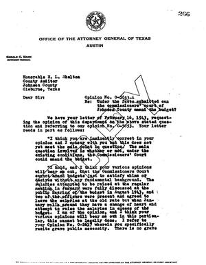 Primary view of object titled 'Texas Attorney General Opinion: O-5053A'.